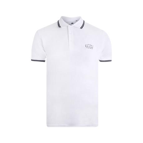 Bridge Polo Shirt // White + Navy (XS)