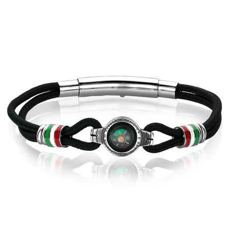 Steel Compass Nylon Cord Adjustable Bracelet // Black