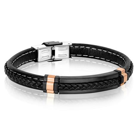 Plated Steel Leather Bracelet // Black + Rose + Silver