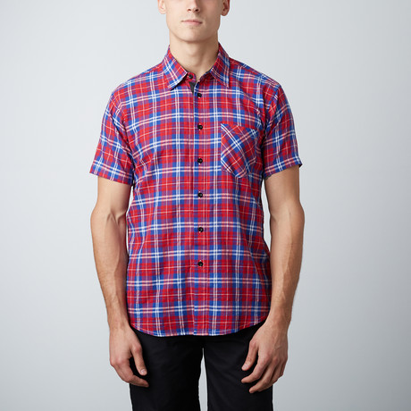 Something Still Short-Sleeve Button-Up // Red
