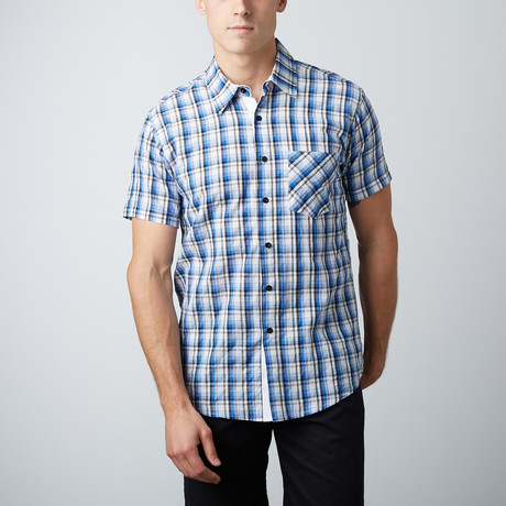 Something Still Short-Sleeve Button-Up // Blue + White
