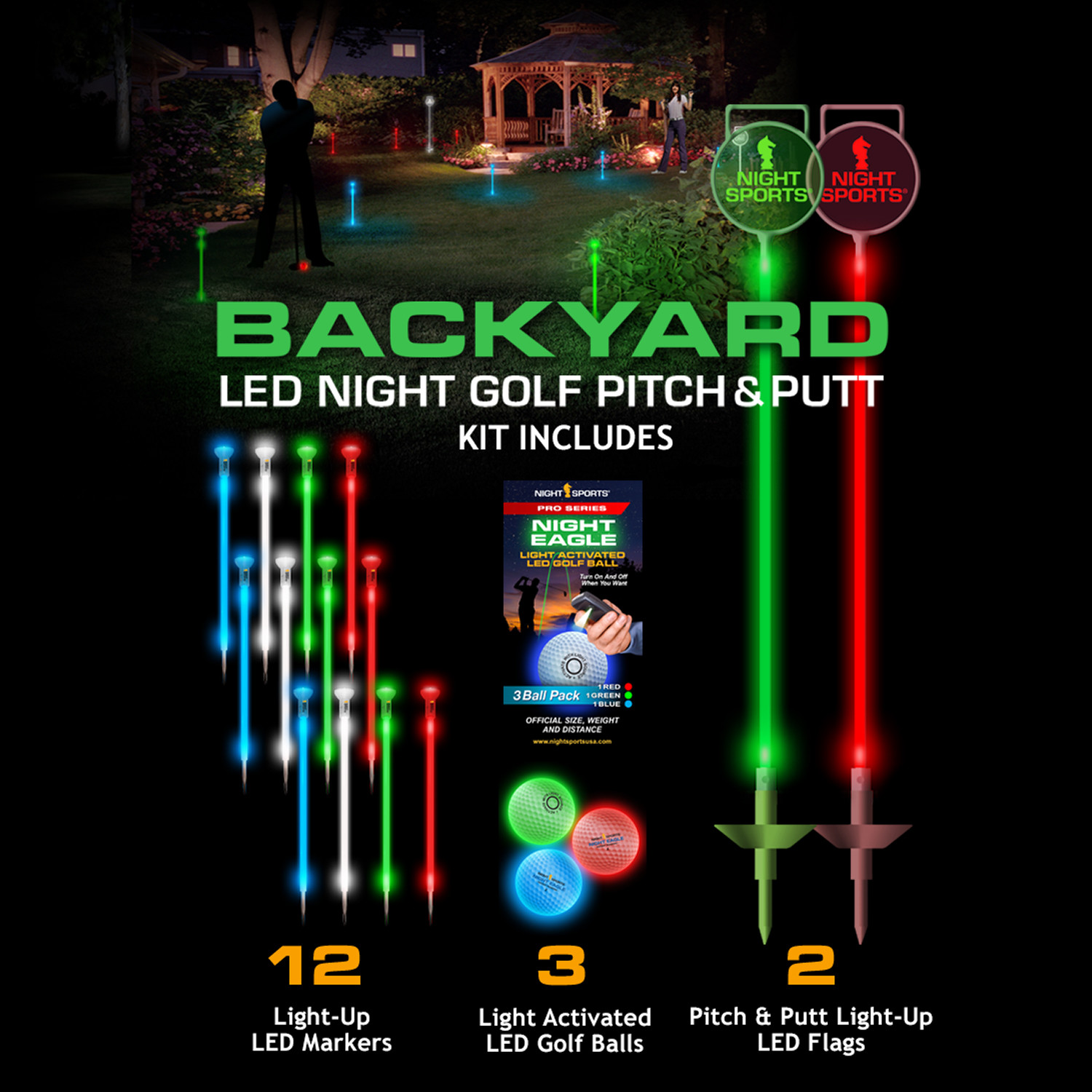 led backyard night golf set spectrum night sports usa touch