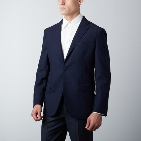 Tailored Fit Notch Lapel Wool Suit Jacket // Indigo (US: 38R)