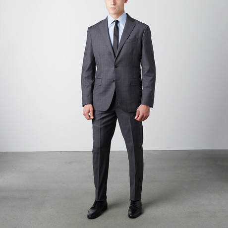 Textured Notch Lapel Wool Suit // Dark Gray (US: 38R)