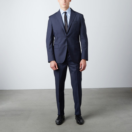 Regular Fit Notch Lapel Wool Suit // Navy (US: 38R)
