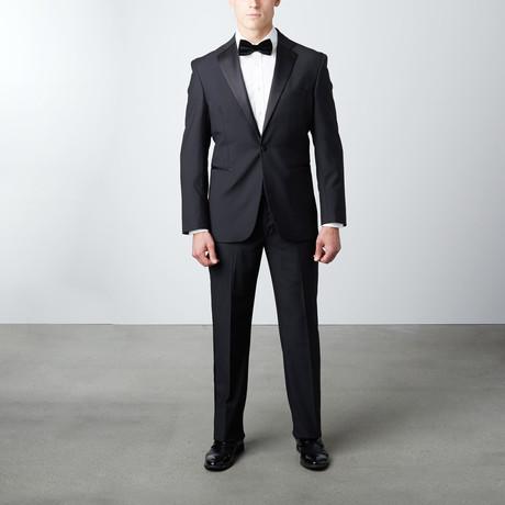Regular Fit Notch Lapel Wool Tuxedo // Black!