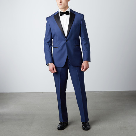 Tailored Notch Lapel Wool Tuxedo // Blue + Black (US: 38R)