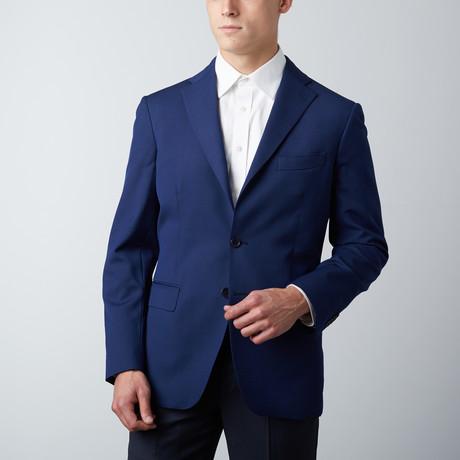Tailored Fit Notch Lapel Wool Suit Jacket // Blue