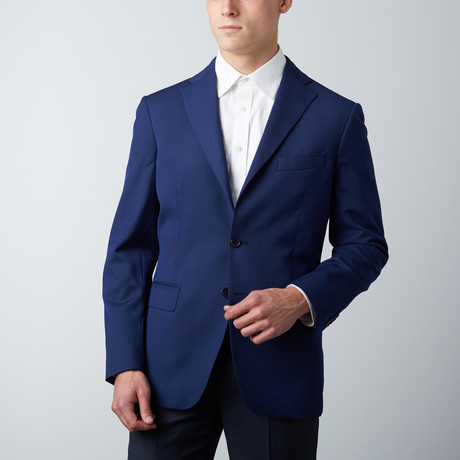 Tailored Fit Notch Lapel Wool Suit Jacket // Blue (US: 38R)