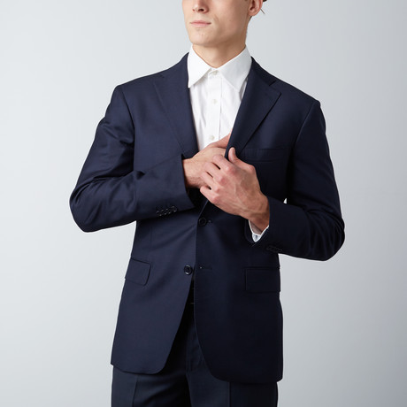 Notch Lapel Wool Suit Jacket // Navy (US: 38R)