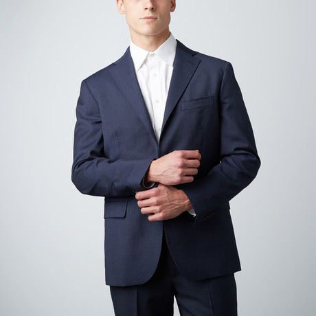 Notch Lapel Wool Suit Jacket // Blue (US: 38R)