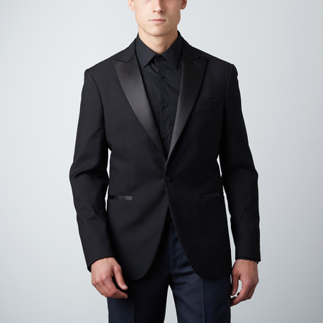 Peak Lapel Wool Suit Jacket // Black