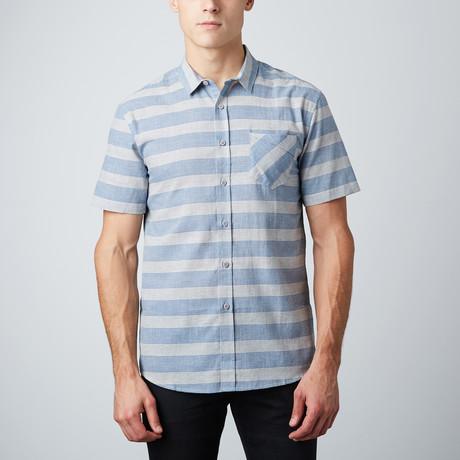 Nested Stripes Short-Sleeve Button-Up Shirt // White + Light Blue