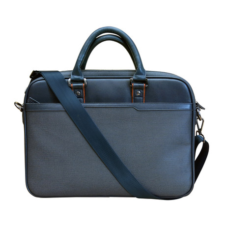 Leather Laptop Briefcase // Navy