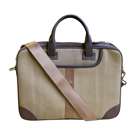 Leather + Twill Laptop Briefcase // Tan