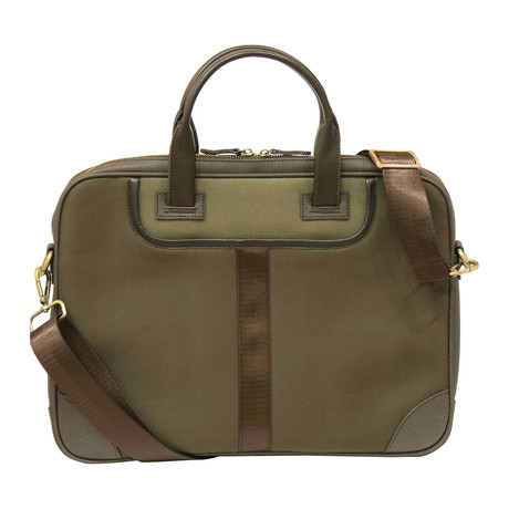 Leather + Twill Laptop Briefcase // Olive