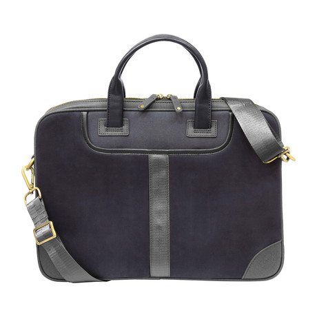 Leather + Twill Laptop Briefcase // Navy