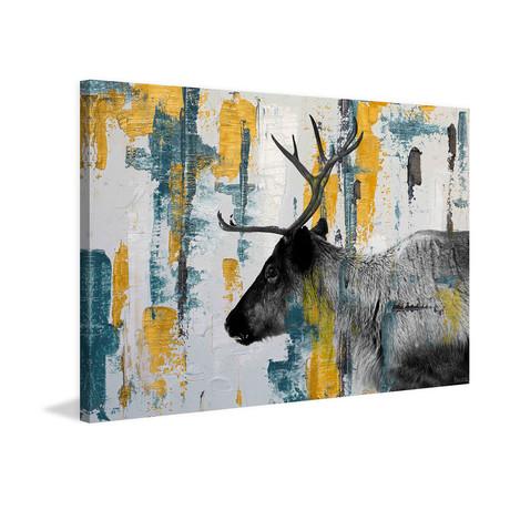 Side Antlers Painting Print on White Wood