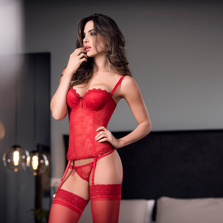 322 Corset + G-String // Red (32)