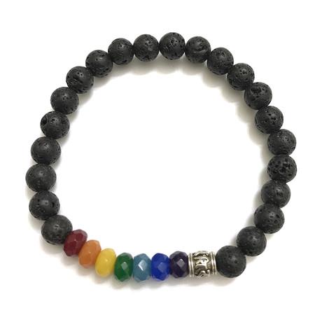 7 Chakra Om Mani Padme Hum Bracelet // Jade + Lava