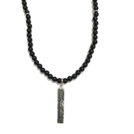 Necklace + Wrap Bracelet 2-In-1 // Black Onyx + Silver Morse Code HOPE