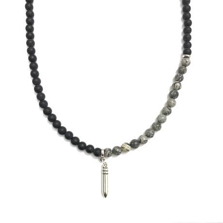 Necklace + Wrap Bracelet 2-In-1 // Onyx + Agate + Silver Bullet