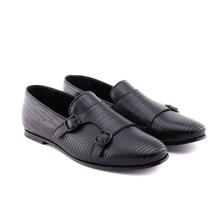 Perforated Double Strap Loafer // Black