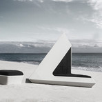 Baron Chaise Lounge // Wooden Storage // White