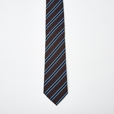 Raphael Stripe Two-Tone Silk Tie // Blue + Brown
