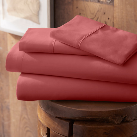 Urban Loft™ Premium Ultra Soft Bed Sheets // 4 Piece Set // Burgundy (Twin)