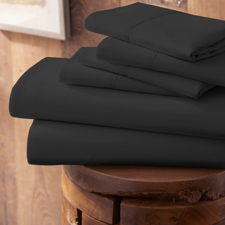 Urban Loft™ Premium Ultra Soft Bed Sheets // 6 Piece Set // Black (Twin)