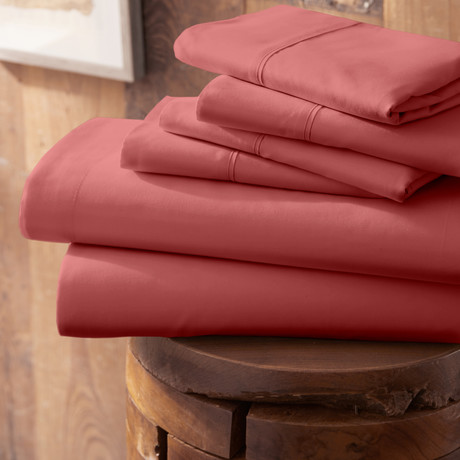 Urban Loft™ Premium Ultra Soft Bed Sheets // 6 Piece Set // Burgundy (Twin)