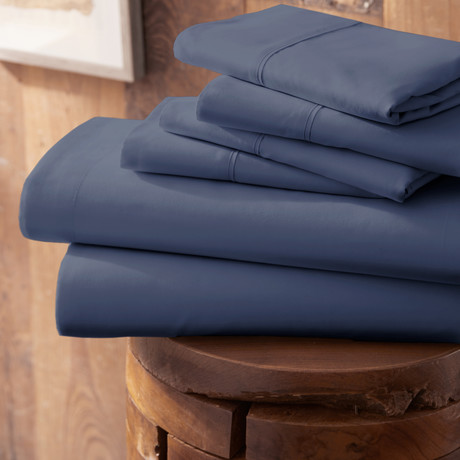 Urban Loft™ Premium Ultra Soft Bed Sheets // 6 Piece Set // Navy (Twin)