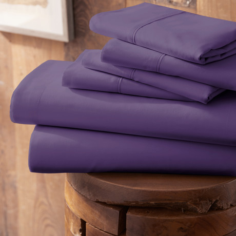 Urban Loft™ Premium Ultra Soft Bed Sheets // 6 Piece Set // Purple (Twin)