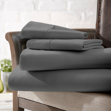 Urban Loft™ Luxury Soft Checkered Bed Sheets // 4 Piece Set // Gray (Twin)