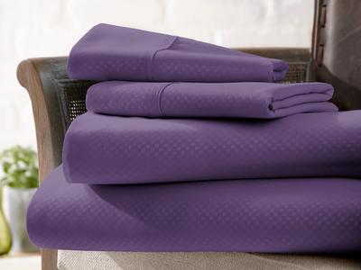 "Photo of iEnjoy Luxurious Microfiber Bedding Urban Loftâ""¢ Luxury Soft Checkered Bed Sheets // 4 Piece Set // Purple (Twin) by Touch Of Modern"