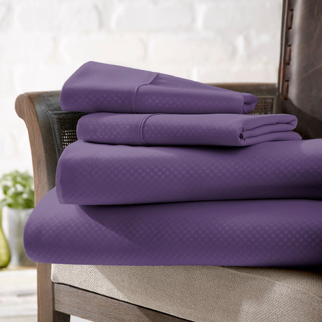 Urban Loft™ Luxury Soft Checkered Bed Sheets // 4 Piece Set // Purple (Twin)