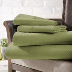 Urban Loft™ Luxury Soft Checkered Bed Sheets // 4 Piece Set // Sage (Twin)