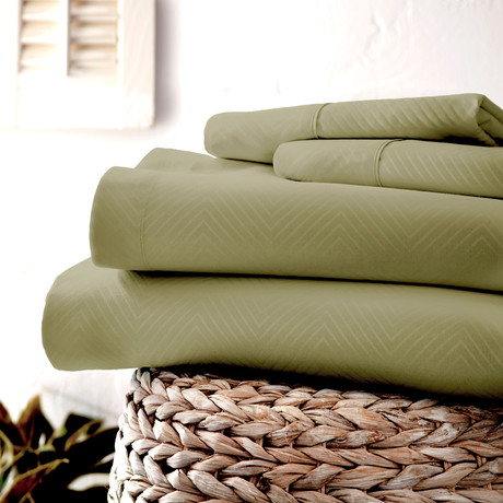 Urban Loft™ Luxury Soft Chevron Bed Sheets // 4 Piece Set // Sage (Twin)