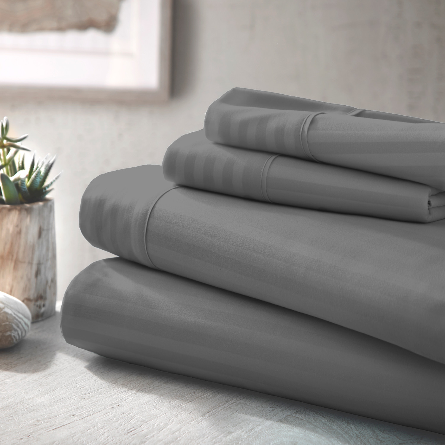 Urban Loft Luxury Soft Striped Bed Sheets 4 Piece Set Gray