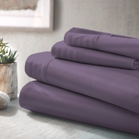 Urban Loft™ Luxury Soft Striped Bed Sheets // 4 Piece Set // Purple (Twin)