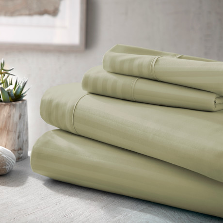 Urban Loft™ Luxury Soft Striped Bed Sheets // 4 Piece Set // Sage (Twin)