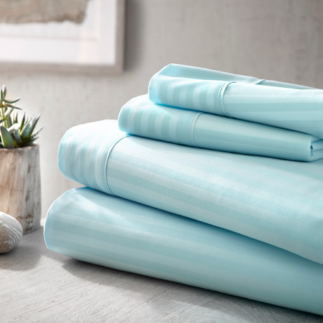 Urban Loft™ Luxury Soft Striped Bed Sheets // 4 Piece Set // Aqua