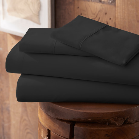 Urban Loft™ Premium Ultra Soft Bed Sheets // 4 Piece Set // Black (Twin)
