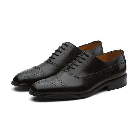 Weir Paneled Leather Oxford // Black (US: 7)