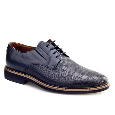 Woven Plain Toe Derby // Dark Blue