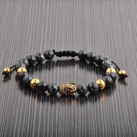 Buddha Beaded Bracelet // Yellow + Black