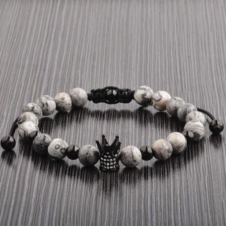 Gray Jasper + Stainless Steel Crown Beaded Bracelet // Gray + Black + Clear