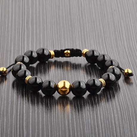 Gold IP Beaded Bracelet // Black Onyx