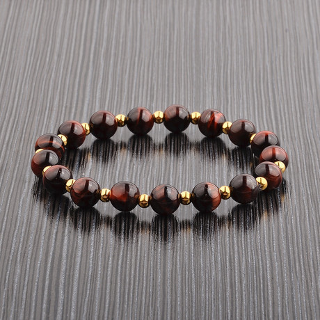 Gold IP Steel Alternating Beaded Bracelet // Red Tiger's Eye